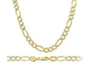Figaro 14k Solid Yellow & White Gold Bracelet Link 5mm 8 inches