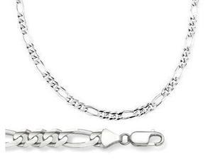 Solid 14k White Gold Figaro Link Bracelet 4mm 7.5 inches
