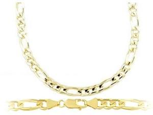 14k Yellow Gold Figaro Bracelet Solid Link 3.2mm 7 inches
