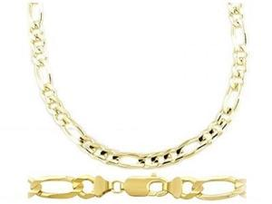 Mens 14k Yellow Gold Bracelet Figaro Link Solid 8mm 8.5 inches