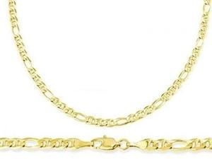 Figaro 14k Yellow Gold Bracelet Gucci Link Solid 3.2mm 7 inches