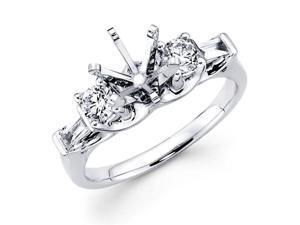Semi Mount Diamond Three Stone Ring 18k White Gold Baguette Setting