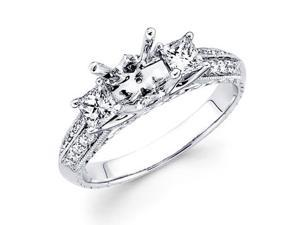 Diamond Three Stone Ring 18k White Gold Milgrain Channel Semi Mount