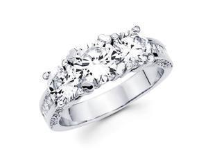 Semi Mount Three Stone Diamond Ring 14k White Gold Anniversary 1.70ct