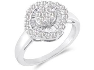 Right Hand Diamond Ring 14k White Gold Anniversary Cluster (3/4 Carat)