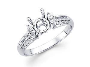 Semi Mount Marquise Diamond Engagement Ring 18k White Gold (1/2 Carat)