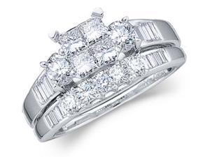 Diamond Engagement Ring Wedding Band Princess Bridal 14k White Gold