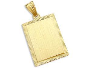 Dog Tag Pendant 14k Yellow Gold Name Tag Charm 1.50 inch