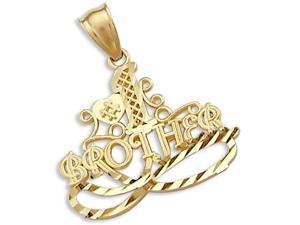 #1 Brother Pendant 14k Yellow Gold Family Love Charm