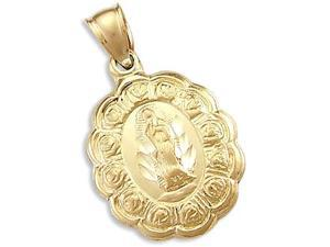Virgin Mary Medallion Pendant 14k Yellow Gold Charm