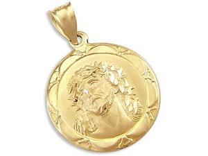 Jesus Face Medallion Pendant 14k Yellow Gold Religious Charm