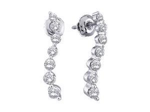 Journey Diamond Earrings 14K White Gold Round (1/2 Carat)