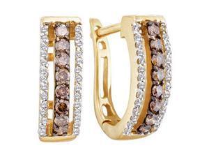 Brown Chocolate Diamond Hoop Earrings 14k Yellow Gold Round (1/2 CTW)