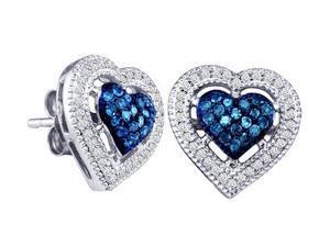 Blue Aqua Diamond Heart Earring Studs 10k White Gold (0.40 Carat)
