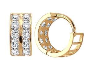 14k Yellow Gold Hoop Earrings Round CZ Cubic Zirconia Huggie Men Lady