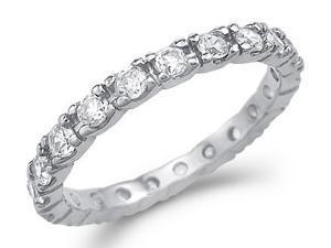 CZ Eternity Wedding Ring 14k White Gold Anniversary Band (1.00 Carat)