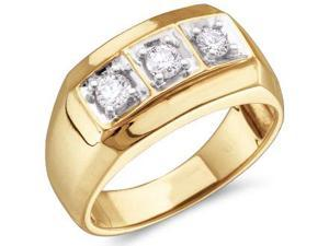 Mens Three Stone Diamond Ring Wedding Band 10k Yellow Gold (1/2 Carat)