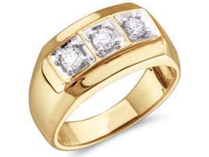 Mens Three Stone Diamond Ring Wedding Band 10k Yellow Gold (1/2 Carat)