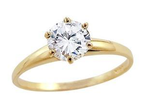CZ Solitaire Engagement Ring 14k Yellow Gold Round Cubic Zirconia 1 CT