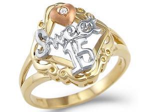 Sweet 15 Quinceanera Ring Cubic Zirconia Birthday 14 White Yellow Gold