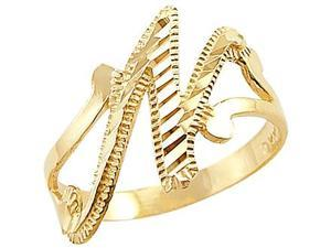 Letter Ring N Initial Band 14k Yellow Gold Cursive Alphabet