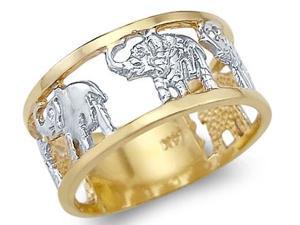 Animal Elephant Ring 14k White Yellow Gold Band