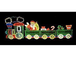 8.5' Holographic Lighted 4-Piece Motion Train Set Christmas Yard Art