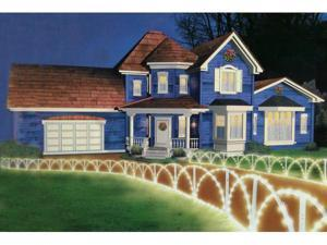 8 Foot White Lighted Christmas Pathway Fence - Clear Lights
