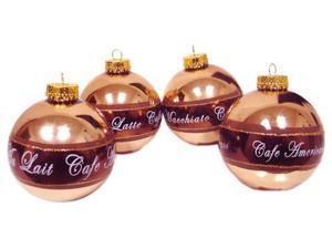 "Set of 4 Coffee Break Bronze Glass Ball Christmas Ornaments 3"""