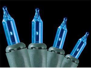 Set of 100 Blue Everglow Mini Christmas Lights - Green Wire