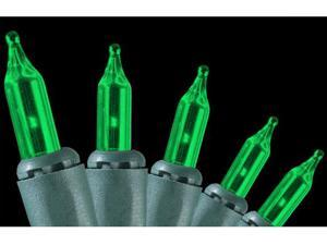 Set of 50 Green Everglow Mini Christmas Lights - Green Wire