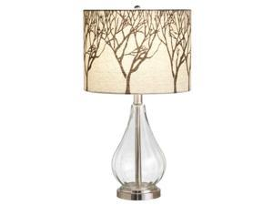 Pack of 2 Contemporary Clear Glass Table Lamps with Tree Shade Design 21.5""
