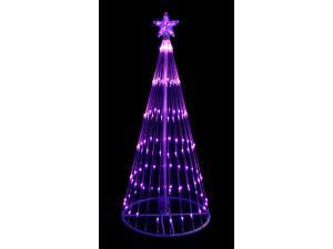 4' Purple LED Light Show Cone Christmas Tree Lighted Yard Art Decoration