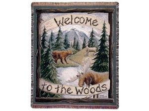 "Moose Deer Bear Woods Lodge Tapestry Throw 50"" x 60"""