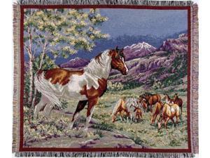 """Wild Mustangs Horses Tapestry Throw Blanket 50"""" x 60"""""""