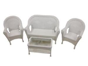 4-Piece White Resin Wicker Patio Furniture Set-  2 Chairs, Loveseat & Table