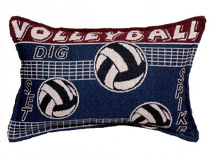 "Set of 2 Volleyball Spike Decorative Throw Pillow 9"" x 12"""