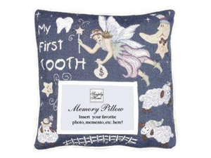 """12"""" """"My First Tooth"""" Tooth-Fairy Decorative Memory Photo Throw Pillow"""