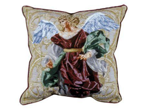 Set of 2 Inspirational Angels of Hope Red Decorative Tapestry Throw Pillows 17""