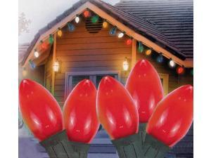 Set of 25 Opaque Red C7 Christmas Lights - Green Wire