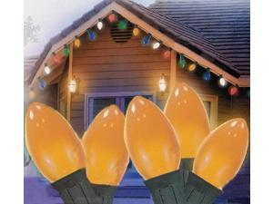Set of 25 Opaque Orange C7 Christmas Lights - Green Wire