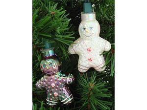 Set of 10 Gingerbread Man Novelty Christmas Lights - Green Wire