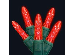 Set Of 50 LED C3 Red Mini Christmas Lights - Green Wire