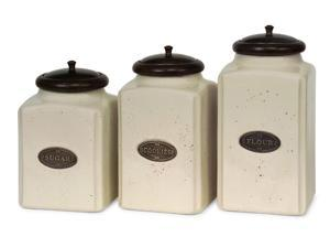 Set of 3 Labeled Ivory Ceramic Kitchen Canisters with Lids