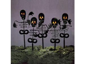 Set of 5 Black Metal Skeleton Halloween Lawn Yard Stakes with Orange Lights