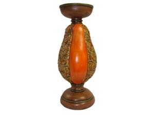 "10"" Rustic Pumpkin and Glittery Autumn Leaf Pillar Candle Holder"