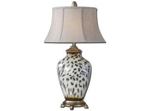 "34"" Burnished Cheetah Print Ceramic, Silver & Oatmeal Oval Bell Shade Table Lamp"