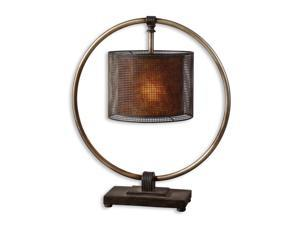 "28"" Rustic Dark Bronze Ring, Pierced Metal & Mica Round Drum Shade Table Lamp"