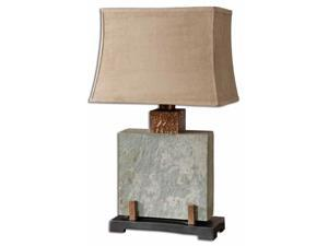 "29"" Slate Square, Hammered Copper & Brown Rectangular Bell Shade Table Lamp"