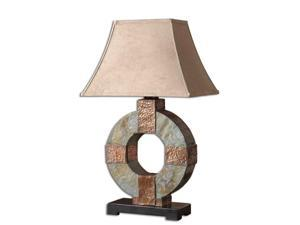 "29"" Slate Circle, Hammered Copper & Brown Rectangular Bell Shade Table Lamp"